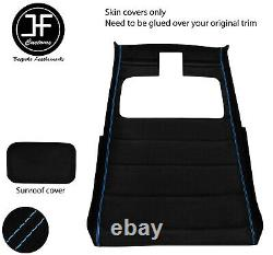 Blue Stitch Sun Roof Headlining Luxe Suede Cover For Vw Jetta Mk2 83-92 3 Door