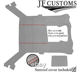 Red Stitch Light Grey Luxe Suede Headliner Sun Roof Cover For Bmw E30 Coupe