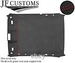 Red Stitch Roof Headlining Liner Dark Grey Luxe Suede Cover For Bmw E36 Coupe